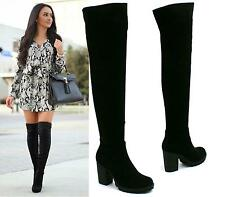 Ladies Black Suede Mid High Heel Over The Knee High Zip Stretch Winter Boots 7 8