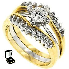 2.10CTW SOLITAIRE ENGAGEMENT TWO-TONE WEDDING RINGS SET-2 RINGS 5,6,7,8,9 W/BOX