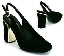WOMENS NEW HIGH BLOCK HEELS SMART LADIES COURT SHOES SLING BACK BLACK SHOES SIZE