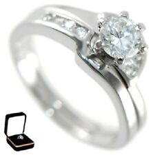 1.98CTW BRILLIANT SOLITAIRE - WEDDING RING SET (2 RINGS) W/BOX size 5,6,7,8,9,10