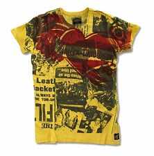 "HARLEY DAVIDSON TRUNK LTD ""NEWSPRINT""  GIRLS JUNIORS YELLOW T SHIRT NEW NWT"