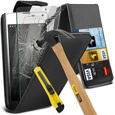 Microsoft Lumia 650 Leather Flip Wallet Case Cover Pouch with Tempered Glass