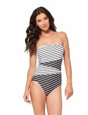 NWT Anne Cole Simple Striped Slice Strapless Bandeu One-Piece Swimsuit Pick Size