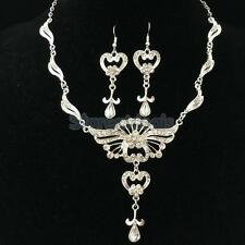 Wedding Bridal Jewelry Prom Crystal Flower Dangle Earring Necklace Set 3 Colors