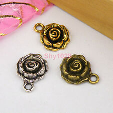 8Pcs Tibetan Silver,Gold,Bronze Rose Flower Charms Pendants 14x17.5mm M1132