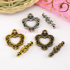 6Sets Tibetan Silver,Antiqued Gold,Bronze Heart Connectors Toggle Clasps M1409