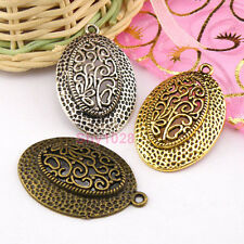 3Pcs Tibetan Silver,Gold,Bronze Oval Charm Pendants Jewelry 25x38mm M1266