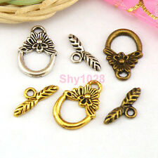 10Sets Tibetan Silver,Gold,Bronze Leaf Circle Connectors Toggle Clasps M1384