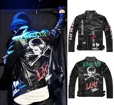 Unisex Hip-Hop BRATSON GD G-Dragon LA Punk DOPE Rock POP Street Leather Jacket