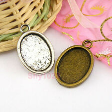 4Pcs Tibetan Silver,Bronze Oval Picture Frame Charm Pendants 18.5x28mm M1632
