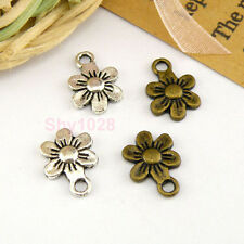 25Pcs Tibetan Silver,Antiqued Bronze Flower Charm Pendants Connectors M1517