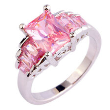 Women Emerald Cut Pink Topaz Gemstone Silver Fashion Ring Gift Size 6 7 8 9 10