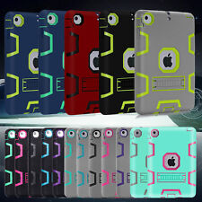 Heavy Duty Shockproof Hybrid Hard PC Rubber KickStand Case Cover For Apple iPad