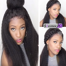 "Kinky Straight Remy Human 12""-24"" Hair Lace Full/Front Wig Baby Hair Many Colors"