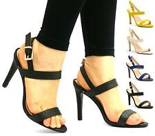 WOMENS LADIES HIGH HEEL STRAPPY BUCKLE SANDALS PARTY ANKLE STRAP STILETTOS SIZE