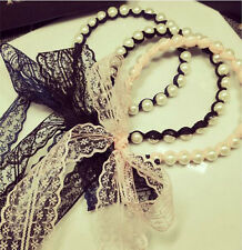 Korea Women Head Piece Jewelry Charm Pearl Bead Headband Lace Ribbon Hair band