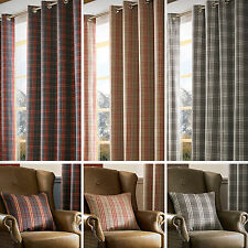 Tartan Check ARCHIE Eyelet Ring Top Fully Lined Curtains -  Red, Denim or Grey