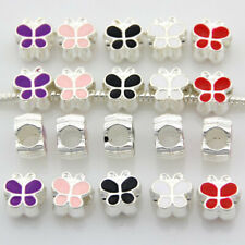 20 x 50 x Silver Tone Butterfly Big Hole Beads Fit European Charm Bracelet E39