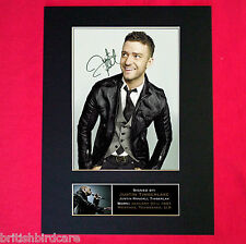 JUSTIN TIMBERLAKE Mounted Signed Photo Reproduction Autograph Print A4 331