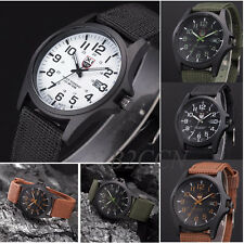 Mens Sports Watch Date Canvas Stainless Steel Military Analog Quartz Wrist Watch