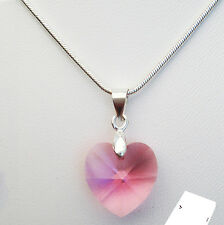 New 925 Sterling Silver Necklace Swarovski Elements Crystal Heart Pendant Gift