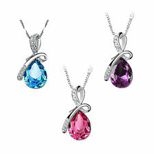 New Crystal Teardrop Pendant Chain Jewellery Necklace Women Love Girl Party Gift