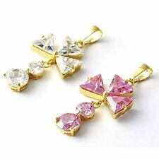 Womens Cute Flower Clear/Pink Crystal Crystal Stone Pendant Yellow Gold Filled