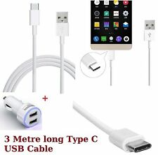 2.1A Dual Port Car Charger + 3 Metre Long Type C USB Cable For Various Mobile:CR