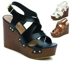 WOMENS HIGH HEEL WEDGE SANDAL LADIES STRAPPY CUT OUT PEEPTOE PLATFORM SHOES SIZE