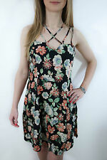 URBAN OUTFITTERS BLACK FLORAL DRESS SIZE XS S M 8 10 12 NEW SUN SWING