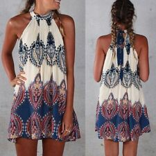 BOHO Ladies Sleeveless Party Tops Womens Summer Beach Swing Dress UK SIZE 8-14