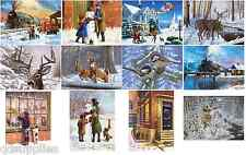 12 DESIGNS CHRISTMAS SNOW SCENES FESTIVE PAINTINGS A3 & A4 PAINT BY NUMBER KITS