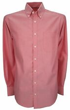 Ex Store Mens Cotton Long Sleeve Oxford Weave Shirt Red