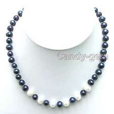 "SALE 6-7mm Black Natural Freshwater Pearl 6 piece White PEARL 17"" Necklace-n5901"