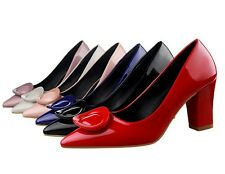 Womens Ladies OL Shoes Chunky Heels Patent Leather Pointed Toe Pumps High Heels