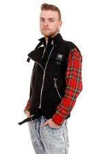 Tiger of London Black Punk Zip Jacket with Red Tartan Sleeves by Tiger of London
