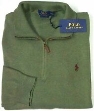 NWT $125 Polo Ralph Lauren 1/4 ZIP Green Pima Cotton Sweater Mens 2XB NEW