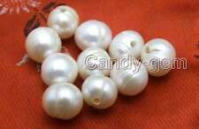 Wholesale 10 piece Big 9-11mm Potato White Natural Freshwater 2mm hole pearl-646