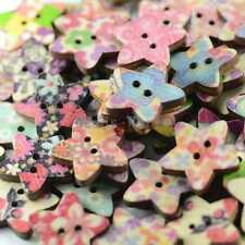 100pcs Random Mixed 2 Holes Wood Sewing Buttons Scrapbooking Decorate 17mm