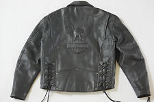 Harley Davidson Mens Vintage Cruiser Embossed Eagle Black Leather Jacket L Rare
