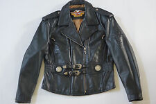 Harley Davidson Womens Vintage 90's Leather Jacket Classic Style XL Black HD