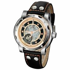 FORSINING Mens Black Leather Stainless Steel Auto Mechanical Sport Wrist Watch