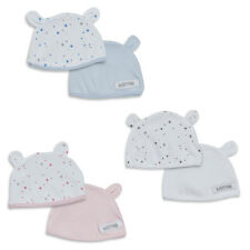 Baby Two Pack Hats Knotted Cradle Cap Or Teddy Ears Pink Blue Or Silver 3 Sizes
