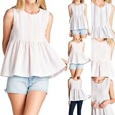 Striped Sleeveless Flared Round Neck Baby Doll Gauze Tank Top Casual Cute S M L