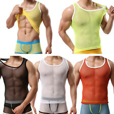 Men Boys Sexy Vest Sleeveless Tank Tops Mesh Sheer See Through Tee Undershirt OP