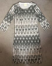 SELECTED FEMME JEANS GREY PATTERNED DRESS WITH 3/4 SLEEVES -SIZE M