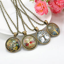 Punk Art Steampunk Life of tree Gear Clock Cabochon Glass Pendant Chain Necklace