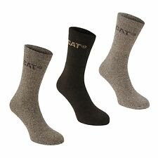 CAT Mens Outdoor Boot Crew Socks Knitted Ribbed Ankle Pairs Accessories Gift Box