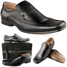 Mens New Black Leather Lined Smart Slip On Shoes FREE EXPRESS DELIVERY