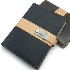Vintage A5 Code Password Lock Leather Blank Diary Book, Secret Notebook L